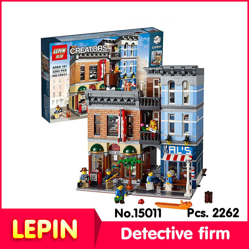 LEPIN 15011 2082Pcs street View series Detective firm Model Building Blocks Set Bricks Toys Compatible 10246 Child Gift lepin 22001 pirate ship imperial warships model building block briks toys gift 1717pcs compatible legoed 10210