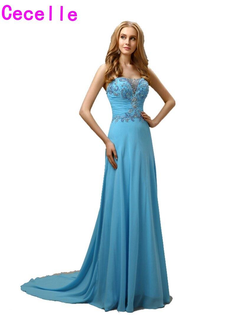 2017 lange A linie Blau Chiffon Prom Abendkleider Kleider Mit Zug ...