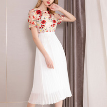 PIXY Chiffon Pleated Dress Summer Luxury Embroidery Midi Dresses White Sexy Mesh Rose High Waist Tunic Black vestidos Casual