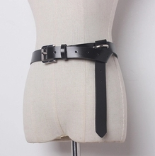 [TWOTWINSTYLE] 2017 Black Cowskin Genuine Leather Thin Tie Designer Belts Women New Fashion
