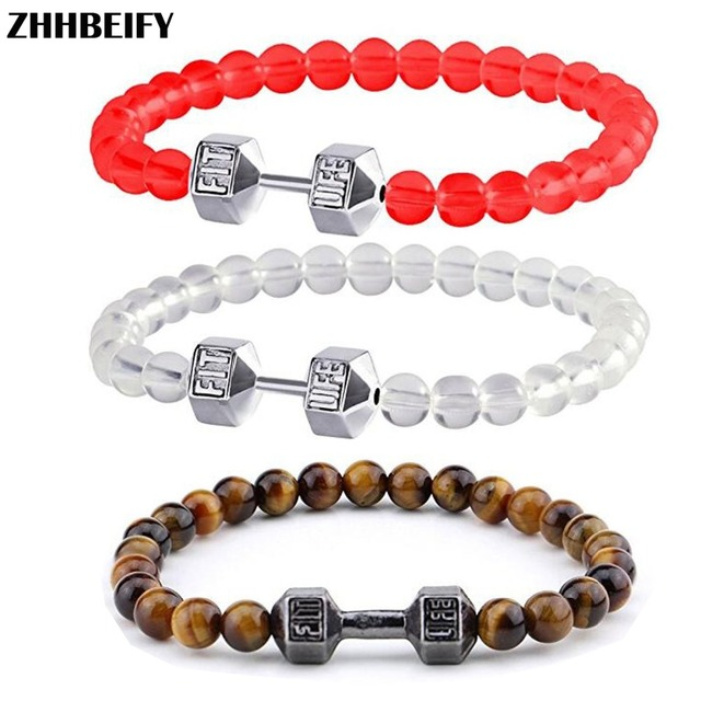 Us 5 73 18 Off Motivation 6 Mm Tiger Eye Fitness Energy Translucent Beads Bodybuilding Workout Exercise Dumbbell Bracelet Fits Mens Women In