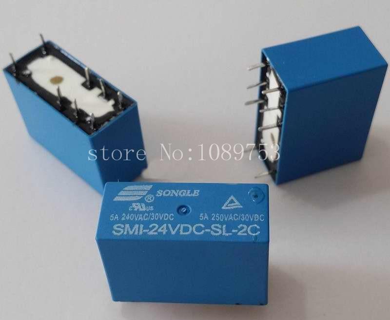 10pcs SMI-24VDC-SL-2C DC 24V 5A 250V 8PIN Power Relay power relays sre 05vdc sl 2c sre 12vdc sl 2c sre 24vdc sl 2c 5v 12v 24v 3a 240v 8pin relay wholesale price