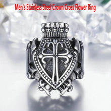 Men's stainless steel ring      Crown cross flower ring      Vintage cross flower ring men s stainless steel ring rotatable ring bible verse ring bible verse cross ring