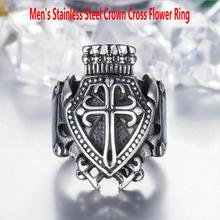 Men's stainless steel ring      Crown cross flower ring      Vintage cross flower ring rhinestone vintage flower ring
