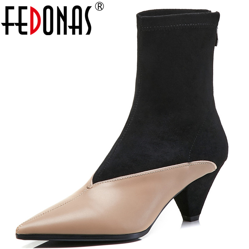 цены FEDONAS Fashion Sexy Brand Women Patchwork Party Shoes Woman Genuine Leather Pointed Toe Autumn Winter Socks Boots Ankle Boots