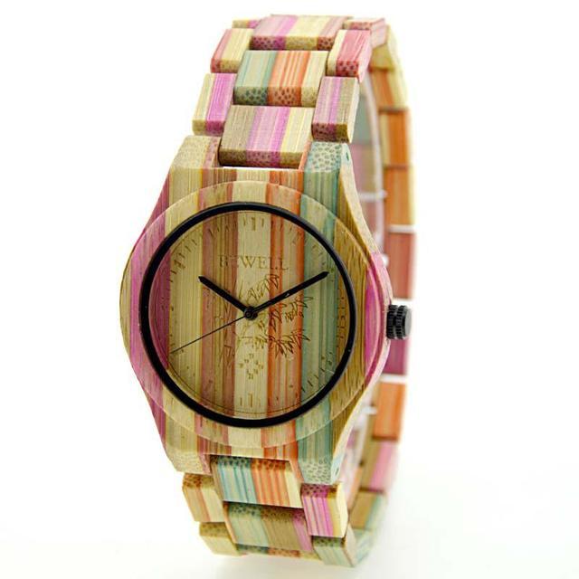 BEWELL Femmes Hommes Élégant Coloré Bambou Bois Montre Étanche À La Mode Quartz Montre-Bracelet (avec Boîte-Cadeau) 1