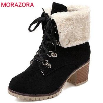 a420a9a6 MORAZORA 2018 nuevas botas de tobillo a la moda de las mujeres de punta  redonda flock lace up botines cuadrados zapatos de tacones altos mantener  el calor ...