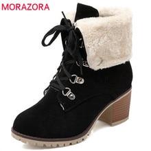 MORAZORA 2020 חדש אופנה קרסול מגפי נשים צאן בוהן תחרה עד מרובע נעליים גבוהה עקבים נעלי להתחמם חורף שלג מגפיים