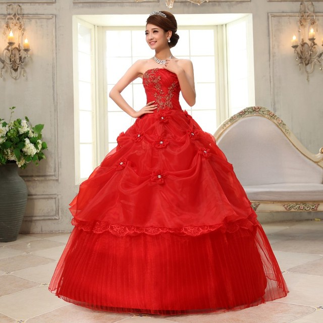 Real Photo vestido de noiva de 2017 New Koreal Style Flowers Strapless Pink Red Princess bridal Wedding Dress Lace Up Ball Gown 4