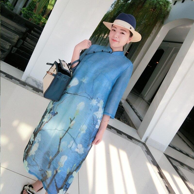 2b4461a719a Blue L extérieur Longues Fin À Mandarin Haute Robes 30 Soie 2019 Longue  Style Chinois été Femmes De Lâche Robe Réel Col Printemps ...