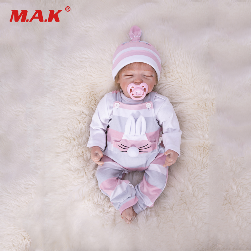 18 Silicone Reborn Baby Dolls Sweet Sleeping with Pink Clothes Lovely Baby Doll Toy Lifelike Toddler Boneca Children Gift kawaii silicone reborn baby dolls accompany sleeping baby doll lifelike elegant princess baby gift brinquedos with clothes