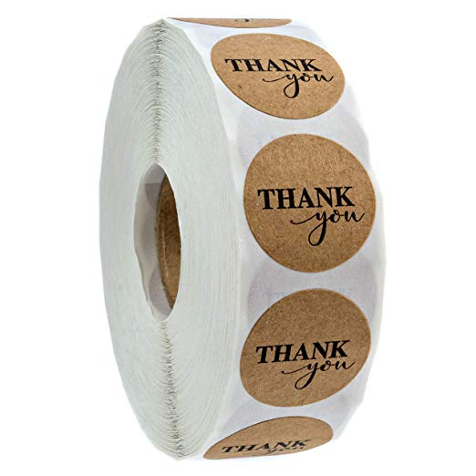 1inch Kraft Paper Thank You Stickers Scrapbooking For Seal Adhesive Label Roll Cute Sticker For Package Stationery Sticker