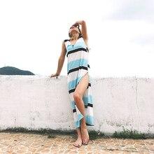 Summer 2019 New  Deep V-neck Beach Dress Sleeveless Split Long Women Sexy Dresses