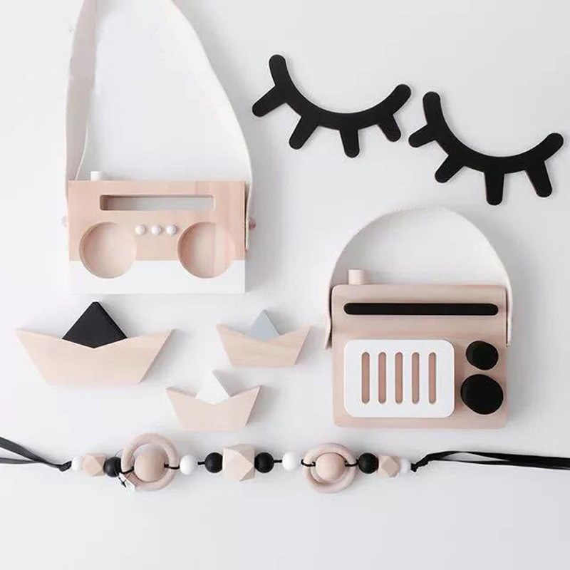 2pcs/set Nordic Wood Eyelashes Cartoon 3D Wall Sticker DIY Children Bedroom Props Home Living Room Hanging Decoration MI 008