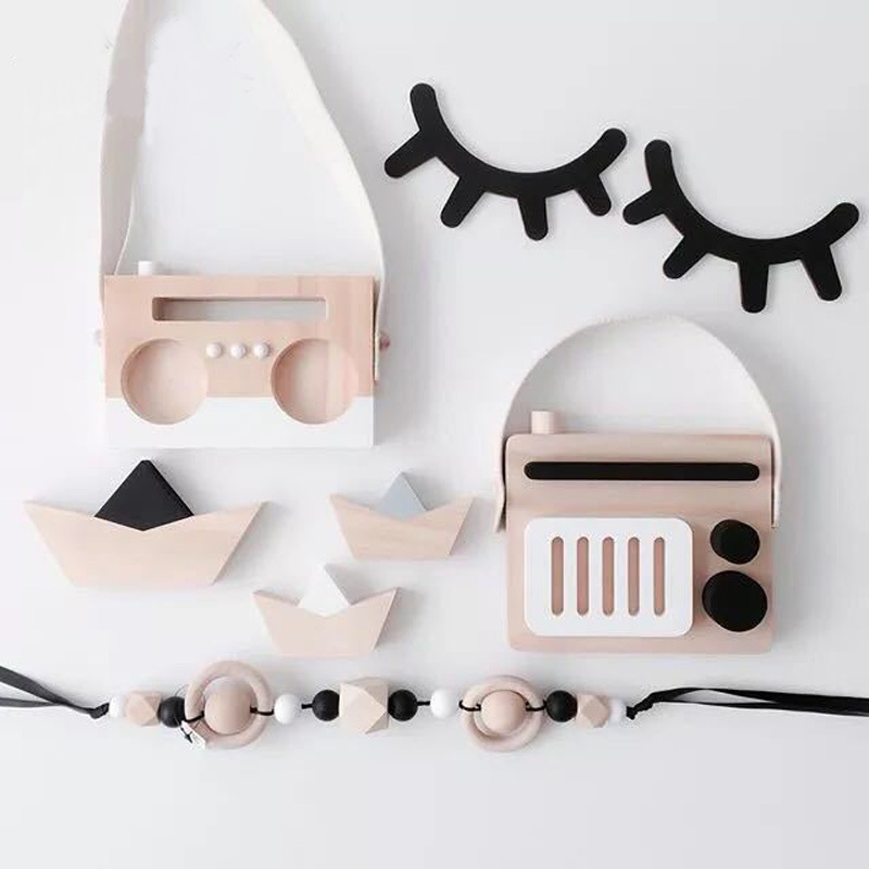 2pcs/set Nordic Wood Eyelashes Cartoon 3D Wall Sticker DIY Children Bedroom Props Home Living Room Hanging Decoration MI 008