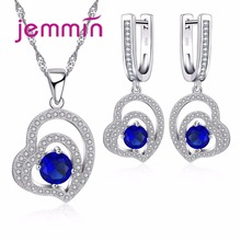Jemmin Bridal Wedding Jewelry Sets For Women Fine 925 Sterling Silver Full Clear Micro Rhinestone Pendant Necklaces Earring Set