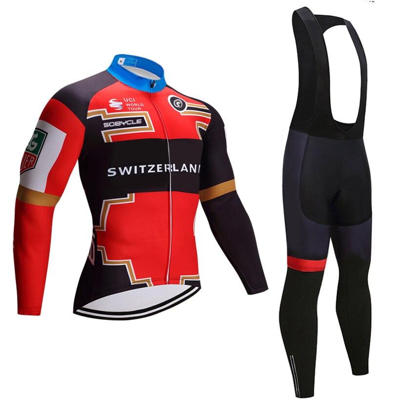 2018 зимние Швейцария Команда Велосипеды Джерси 9D гель площадку велосипед комплект со штанами MTB Ropa Ciclismo теплоизолирующего флиса bi Велосипед...