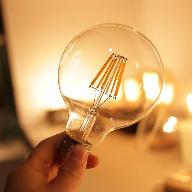 Светодиодная лампа накаливания LATTUSO Edison G80 G95 G125 большая круглая лампочка 2 Вт 4 Вт 6 Вт 8 Вт лампа накаливания E27 прозрачная стеклянная внутренняя лампа AC220V
