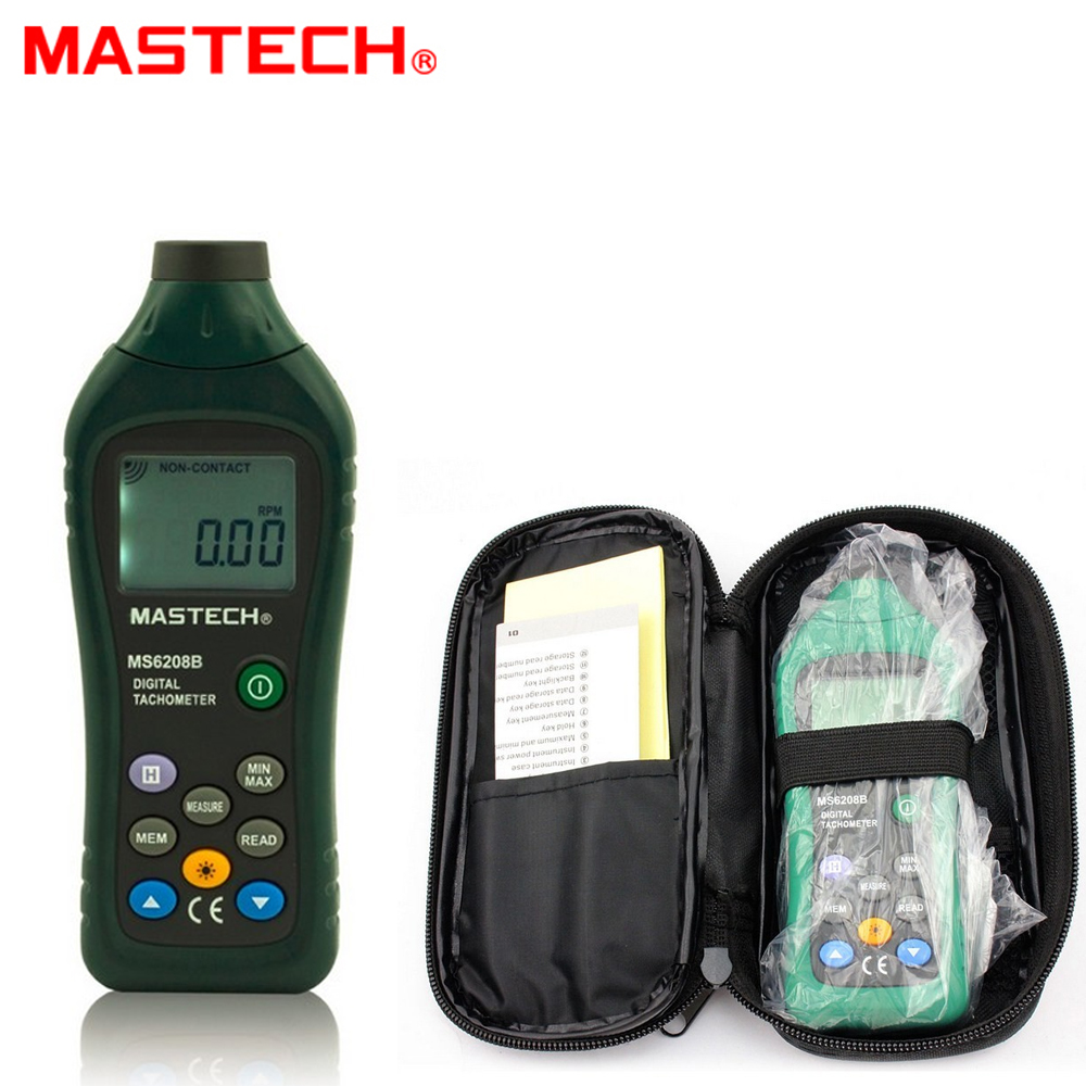 MASTECH MS6208B LCD Digital Laser Photo Tachometer RPM Meter Non contact Tacometro Rotation Speed 50RPM-99999RPM dt 2856 photo touch type tachometer dt2856