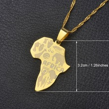 9 Style Africa Map Pendant Necklace for Women/Men Silver/Gold Color Ethiopian Jewelry