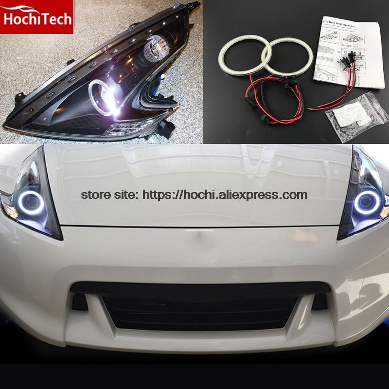 HochiTech Ultra bright SMD white LED angel eyes 2000LM 12V halo ring kit daytime running light DRL for Nissan 370Z 2009-2015 неоновые кольца angel eyes newsun 80 3014 smd 12v halo 60 72 90 120