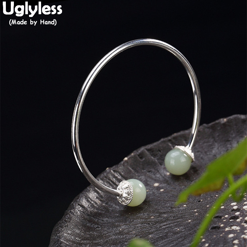 Uglyless Real S925 Sterling Silver Bangle Simple Fashion Women Thin Bangles High Quality Hetian Jade Balls Jewelry Fine BijouxUglyless Real S925 Sterling Silver Bangle Simple Fashion Women Thin Bangles High Quality Hetian Jade Balls Jewelry Fine Bijoux