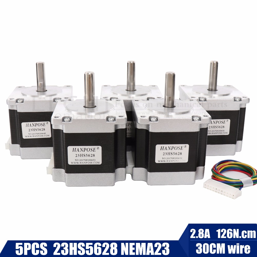 цена Best sellers! 5pcs 23HS5628 4-lead Nema 23 Stepper Motor 57 motor 165 Oz-in 56mm 2.8A ISO CNC Laser Grind Foam Plasma Cut