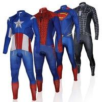 Kaptan Amerika Superman Spiderman Iron Man 2015 Bisiklet Jersey Uzun Kollu Set/Bisiklet Giyim/Bisiklet Ropa Ciclismo S-4XL