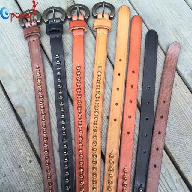 2016 nuevas mujeres de la personalidad de la moda cinturón pin hebilla cinturones de cuero genuino del remache con cuentas pretina ajustable dropshipping PB273