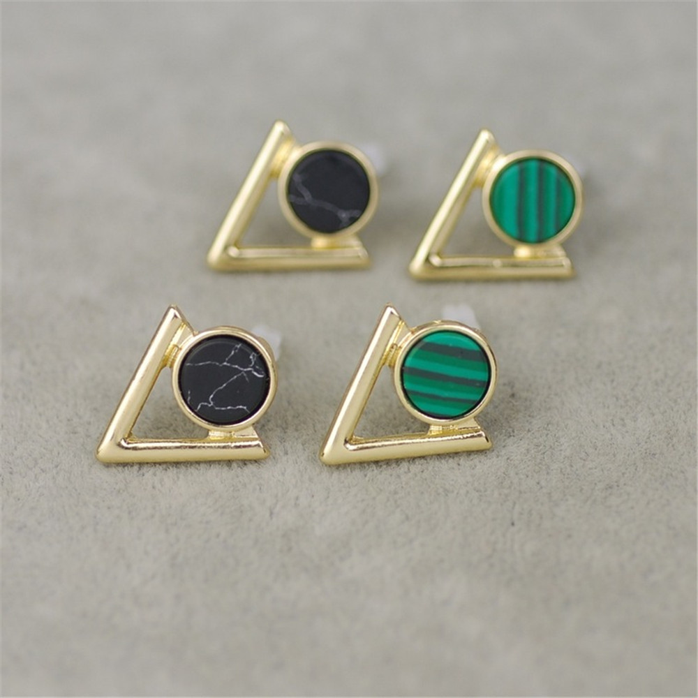 Hot Custom Style Fashion Woman Natural Stone Stud Earrings Plated Triangle Circle Black White Malachite In From Jewelry