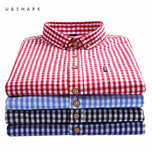U&SHARK 2018 Autumn Mens Plaid Casual Shirts Long Sleeve 100