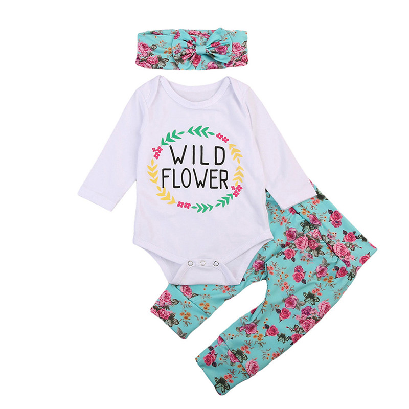 3pcs Newborn Baby Girls Clothes Long Sleeve Romper Jumpsuit +Flower Long Pants+Headdress Outfits Baby Clothing Set