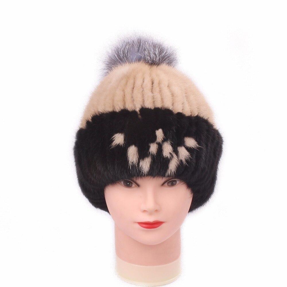 Véritable vison fourrure chapeaux femme casquette Nature femmes hiver cagoule chapeaux filles pour skullies bonnets Fox cheveux balle