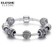 ELESHE 2016 Fashion Women Bracelet Silver Color Crystal Bead Charm Bracelet For Women Pulseiras Jewelry Original Bracelets Gift