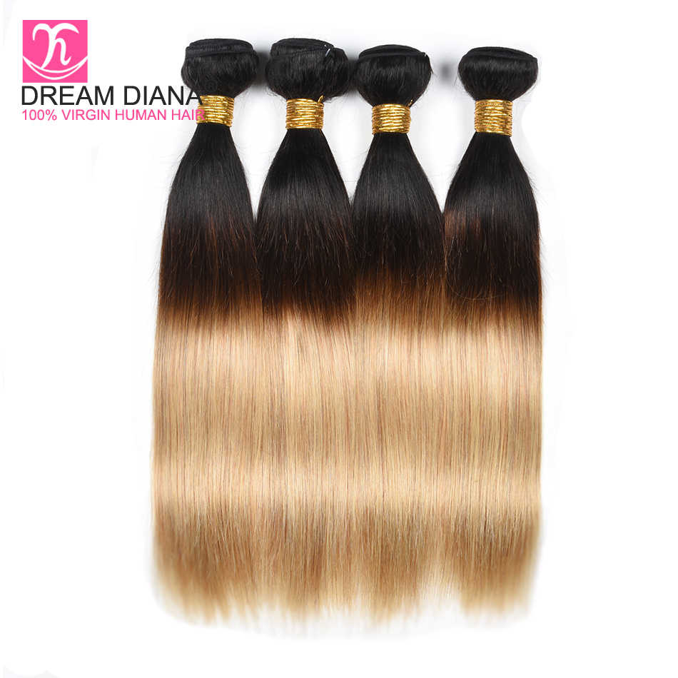 """Dreamdiana Remy 3 тонов прямые волосы Омбре волосы 3 Связки 1B/4/27 Remi (Реми), """"конский хвост"""", эффектом деграде (переход от темного к бразильские волосы категории Virgin в комплекте 100% золото Цветной волос"""