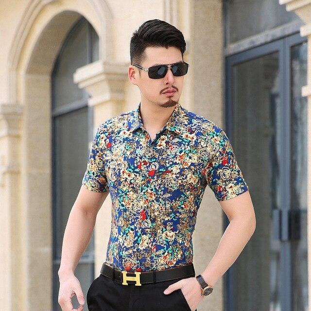 Gold Bronzing Flower Shirt Men Luxury Brand Design Baroque Mens Dress Shirts Chemise Homme Short Sleeve Milk Silk Camisa XXXL