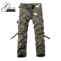 Gold Hands 2017 New Autumn Winter Men Cargo Pants Army Green Black Khaki With Pockets Zipper Cotton Long Male Military Pants