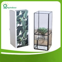 Removable Cube Rectangle Split Type Geometric Hydroponic Glass Terrarium Aquarium Aquatic Plant Watering Vase Plante Flower Pots