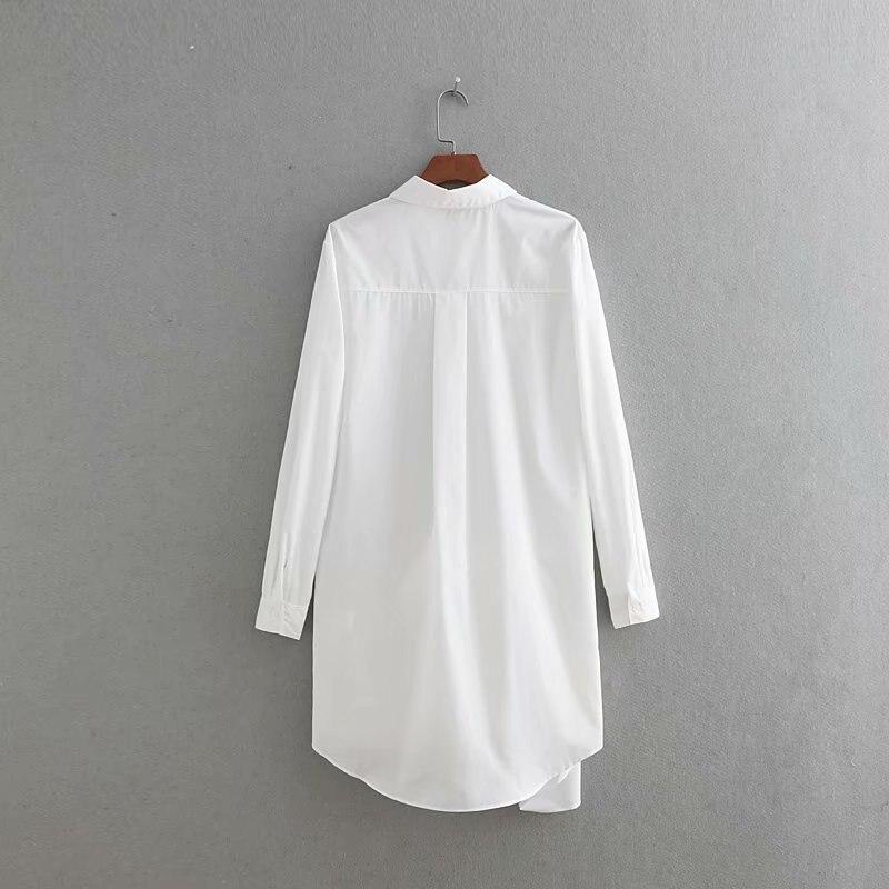 Décontracté été blanc col rabattu à manches longues lâche Blouse nouvelle mode à lacets femmes Top - 6