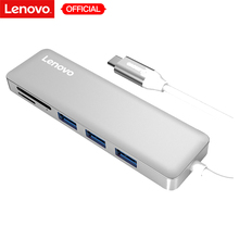 Lenovo 5-in-1 USB Type-C to 3 Ports USB 3.0 Adapter USB-C Data Hub Ultra Slim 5Gbps High-Speed Aluminium Converter SD / TF Card