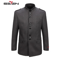 Seven7 2017 New Winter Men Wool Trench Coat Men Long Trench Slim Fit Overcoat High Quality Men Coats Fashion Outerwear 107C11050