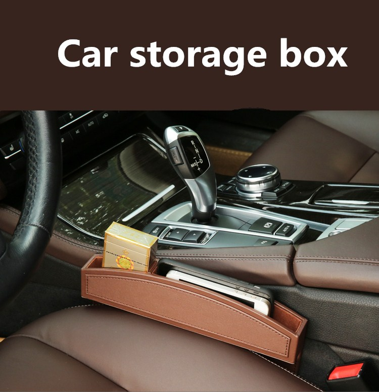 Leather Car Seat Gap Storage Pockets for Mobile Phone, Pen, Cigarette