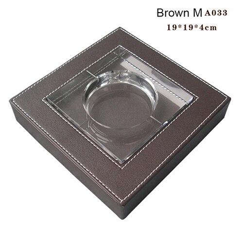Крытый пепельница Творческий дом для офиса практическая курение аксессуары, из искусственной кожи квадратная Хрустальная пепельница для сигаретного пепла чехол гаджеты - Цвет: A033 Brown L size
