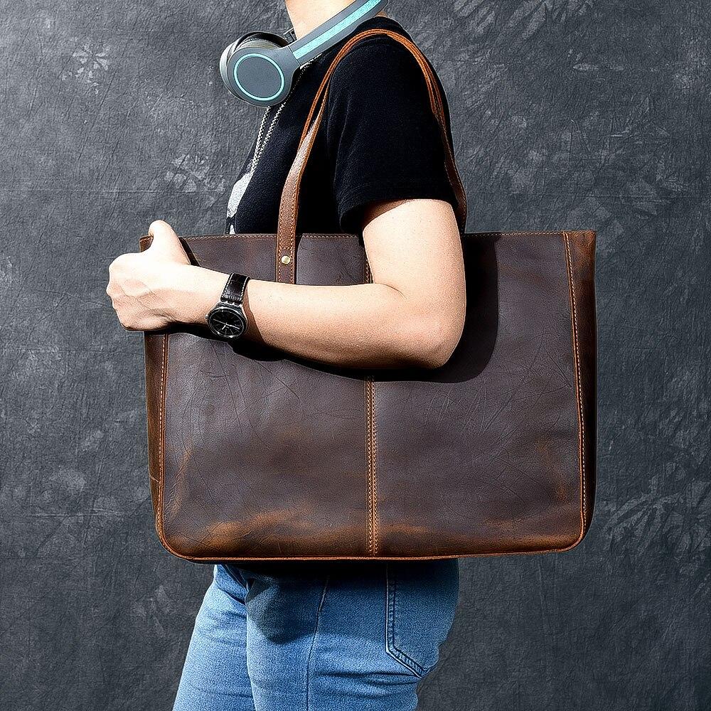 Vintage handgemaakte crazy horse lederen Vrouwen handtas doorsnede grote capaciteit 14 Laptop tote tas mannen en vrouwen schoudertassen - 3