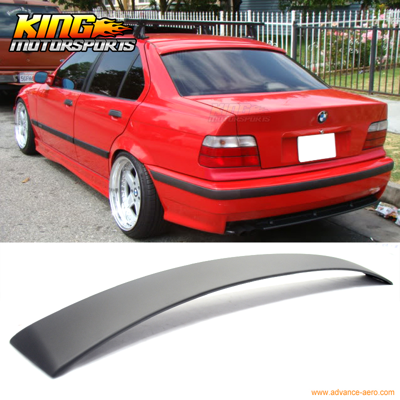 Fits 1992 1993 1994 1995 1996 1997 1998 BMW E36 3 Series 4Dr Rear Roof Lip Spoiler Wing Painted Matte Black