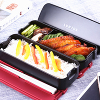 Japan plastic lunch box double layers can heat by microwave students bento boxes 24