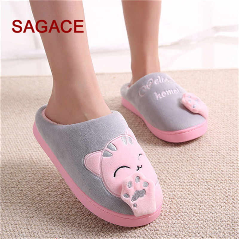 B-kadın/erkek çift ayakkabı kış ev terlik karikatür kedi kaymaz sıcak kapalı yatak odası zemin ayakkabı