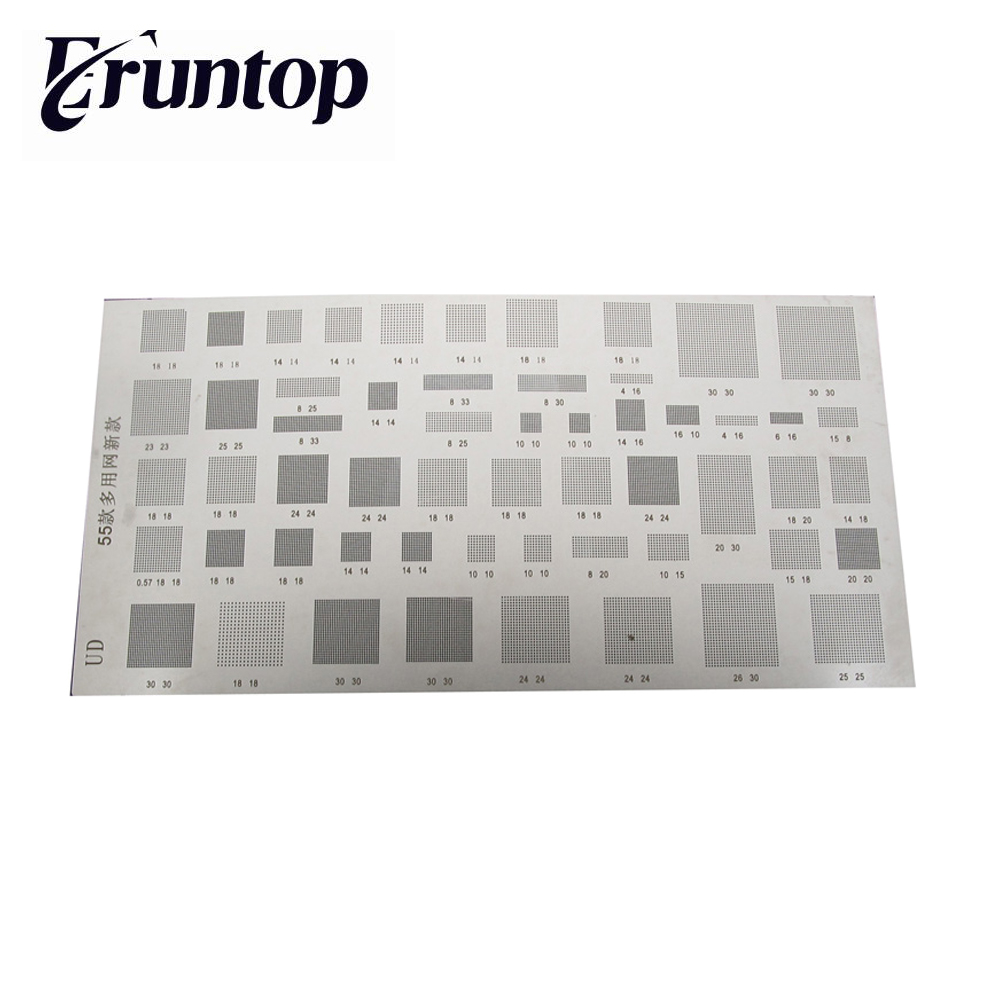 1PCS Universal 55 in 1 for Mobilephone Bga Reballing Stencil Tample Kit Steel Mesh applicable to tcc8803 8803 so8 special chip bga steel mesh stock