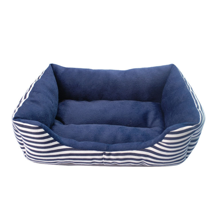 Pet Supplies Classic Strip Dog Beds Canvas Sponge Padded For All Season Puppy Dog House Blue Red Dog Bed For Small Dog S/M/L