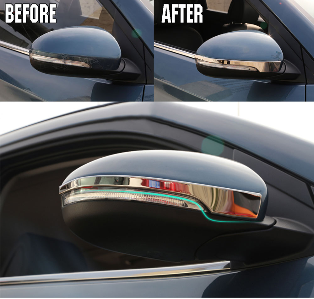 Side Mirror Chrome Cover Trim Molding Overlay Strip Rear View Bezel Frame Lid Garnish Protector Fit For 2016 2017 Hyundai Tucson